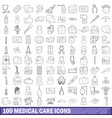 100 medical care icons set outline style vector image vector image