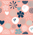abstract pattern flower dot heart pink blue vector image