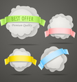 Abstract speech clouds with color ribbons