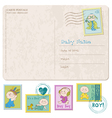 baby arrival card with set of stamps