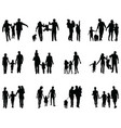 black silhouettes families vector image vector image