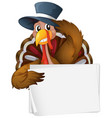 blank sign template with wild turkey on white vector image