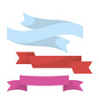 blue red and violet ribbons set in twisted shape vector image vector image