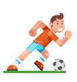 boy playing soccer child activity football running vector image
