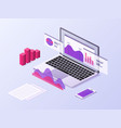 business app isometric concept 3d laptop and vector image