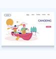 canoeing website landing page design vector image vector image