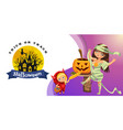 cartoon mom and kid carving hallows pumpkin poster vector image