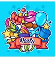 Celebration party card with carnival icons and vector image