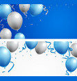 celebrations banner with blue and silver balloons vector image