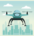 city landscape scene with drone with two airscrew vector image vector image