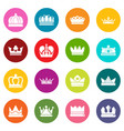 crown gold icons set colorful circles vector image vector image