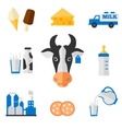 Dairy icons set - flat style vector image
