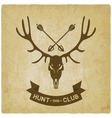 deer skull silhouette old background hunting club vector image vector image