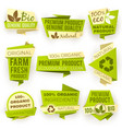 ecology green origami paper banners eco natural vector image vector image