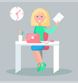 female character sit at table with notebook vector image