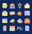 finance and money icon collection in colored line vector image