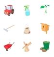 Gardening icons set cartoon style vector image vector image