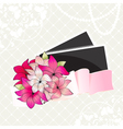 Greeting card with bouquet of pink flowers and pho vector image vector image