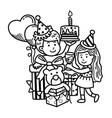 hand drawn party merry christmas vector image vector image