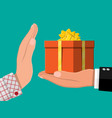 hand giving gift box to other hand vector image vector image