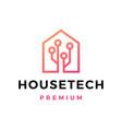 house tech circuit logo icon vector image vector image