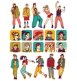 Isolated characters people set icons and figures vector image