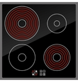 Kitchen Electric hob with ceramic surface and vector image vector image
