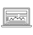 laptop finance icon outline style vector image