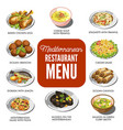 mediterranean cuisine food traditional dishes vector image vector image