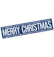 merry christmas square grunge stamp vector image vector image