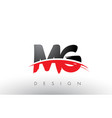 mg m g brush logo letters with red and black vector image vector image