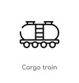 outline cargo train icon isolated black simple vector image vector image