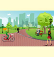 people in a city park vector image