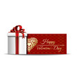 red banner with gift box for valentines day vector image vector image