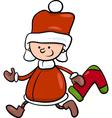 santa claus boy cartoon vector image vector image