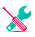 Screwdriver and Wrench Flat Design Retro Icons vector image vector image