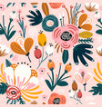 seamless pattern with flowers berries and leaves vector image