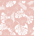seamless tropical pattern with white monstera vector image vector image