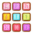 set of square colorful rune stones vector image vector image