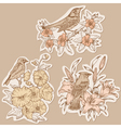 Set of Vintage Birds and Flowers on tags vector image vector image