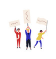 set people holding placards or flags isolated vector image vector image