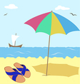 shale under an umbrella by the sea vector image vector image