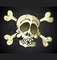 skull and crossbones jolly roger cartoon character vector image vector image