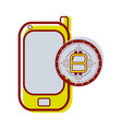 smartphone icon with circuit bitcoin emblem vector image vector image