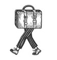 suitcase bag walks on its feet engraving vector image vector image