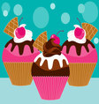three pink cupcakes vector image