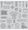 Line flat icon car parts set with vector image