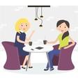 Two cute friends women drinking coffee vector image