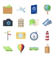 Rest and travel set icons in cartoon style Big vector image