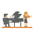 Flat design piano and violin duet vector image